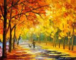 Walking My Dog by Leonid Afremov by Leonidafremov