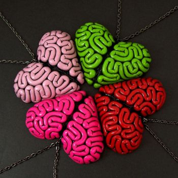 Brainbow of Brain Heart Necklaces by beatblack
