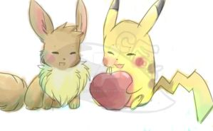 Pikachu and Eevee by FrightFox