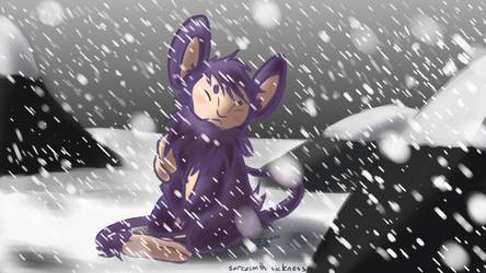 Snow Ambipom by CosmiCatArt