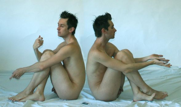 Nude Males Crouching by TheMaleNudeStock