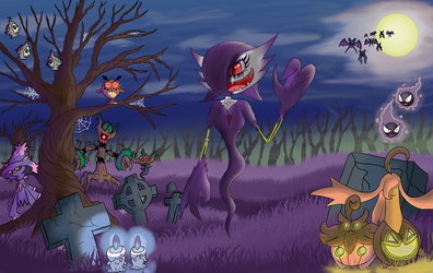 Eve tracing Haunter's levitate (october special) by IceFoxZero