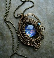 Blue Ocean - Bronze Wire Wrapped Opal Like Pendant by LadyPirotessa