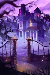 Commission: 'Haunt the House' game box cover by ApollinArt