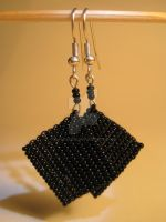 Black Rectangle Earrings by lalalura