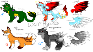 [Closed] Adoptables - Mystical Wolf Hybrids by mansa1212