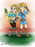 Botw- Chibi Zelda and Link by Laurence-L