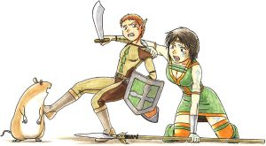 Barbalian and Woodelf in Norrath by robin01jp