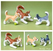 Husky family dog sculptures by SculptedPups