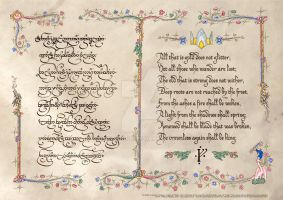 The Riddle of Strider in Tengwar and English by Aglargon