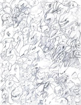 Pokemon Head sketches by PikachuProdigy