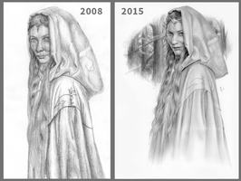 Redrawn Galadriel - 2008 and 2015 by Thubakabra