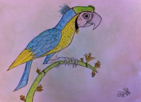 Art Trade: Blue and Yellow Macaw by Viperwings