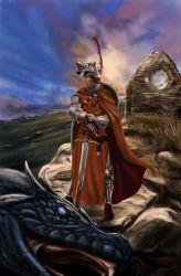 Knight n giant snake by soys