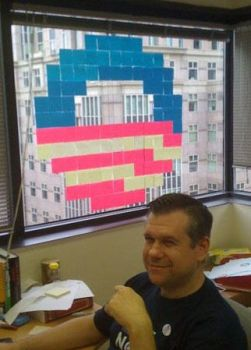 8-bit Obama Logo, Post-it Edition by dhorlick