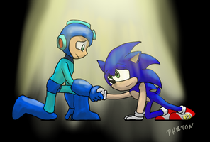 Blue Robot Battling Bros by AtomicNeon