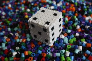 Perler Beads- 3-D dice cube by Puppylover5