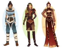 QuickDesigns: Korra, Asami and Azula by Hannah-Alexander