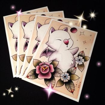 Moogle Tattoo Flash by Michelle Coffee by misscoffee