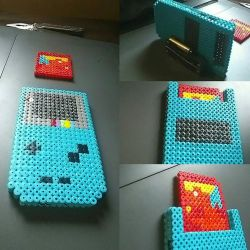 3D gameboy color with Pokemon red perler  by Nastiwolf
