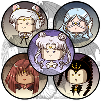 Sailormoon Buttons Q Serenity and Animates by kuroitenshi13