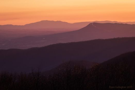 Sunset Haze, Retreating Ridges by ryangallagherart