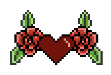 Pixel Heart with Roses by LadyMalande