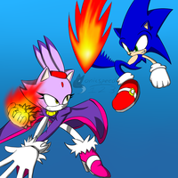 Sonic VS Blaze by sonicspeed123