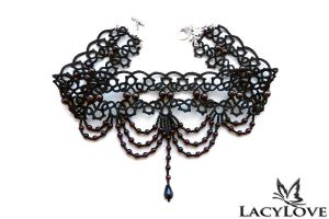 Tatted necklace NERINA by LacyLoveHandmade