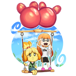 Inkling girl and Isabelle by YumYumCorn