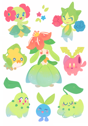 Grass Pokemon Stickers by ieafy