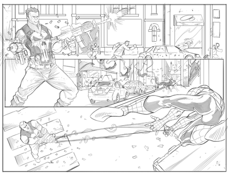 Double page spread Punisher VS Spidey by Javilaparra