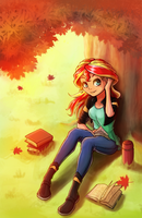 Commission 12 - Sunset Shimmer in autumn by The-Park