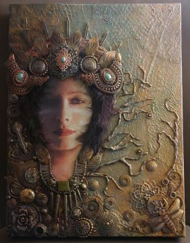 Forest Tribal Queen - mixed media art. by Desertroseimages