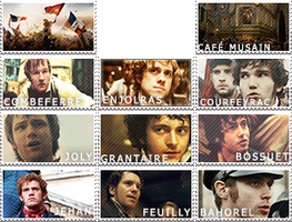 Les Mis stamps: Students of the l'ABC by SarlyneART