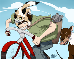ART CHALLENGE - Bicycles and Cats, Oh My by Dezfezable