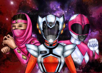 Female Power rangers Comission piece by blueliberty