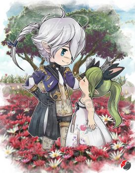 FFXIV Alphinaud and Lalafell by Milee-Design
