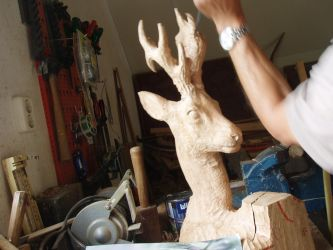 Woodcarver Roebuck in progress5 by woodcarve