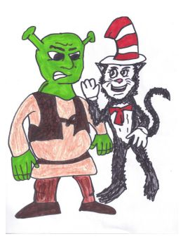 Shrek and the Cat in the Hat by SonicClone