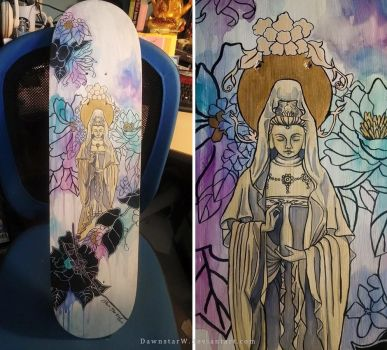 Quan Yin Skateboard by DawnstarW