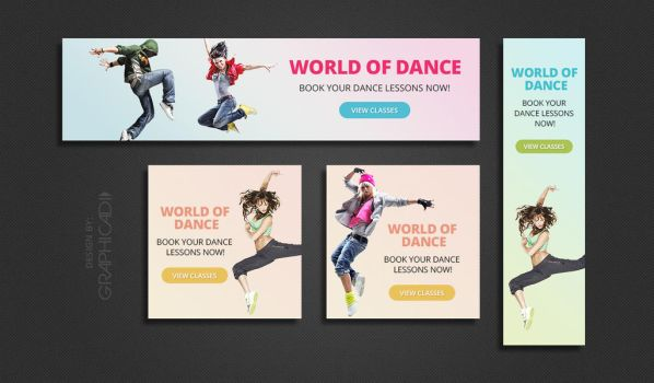 4 Colorful Dance Themed Web Banners by Graphicadi