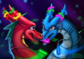Torch and Marine's Rave by DragonCid