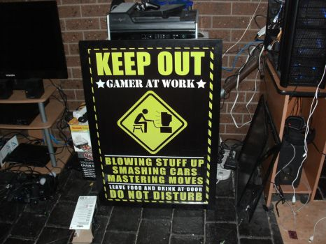 Keep Out Gamer Poster in Poster Frame by Da-Bacon-master