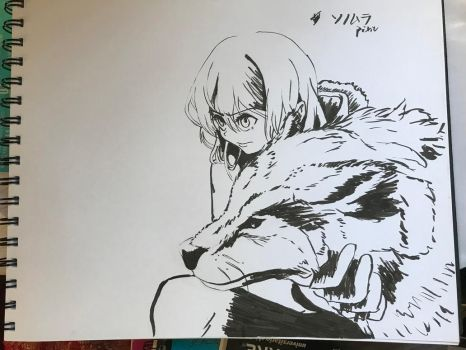 4th Inktober, girl and wolf by RoloGL