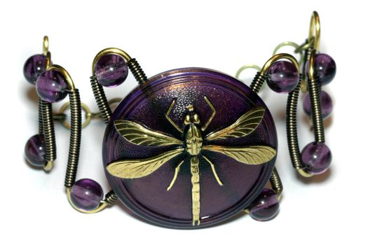 Neo Victorian Bracelet - PURPLE Dragonfly by CatherinetteRings