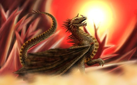 Golden Dragon - Crystal Background by LediCat
