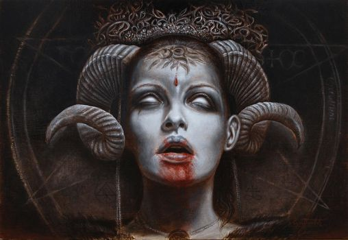 Goddess (oil on panel) by KaradjinovicMarko