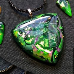 Green fighting dragon, pendant with a dragon. by Tramp-Moon