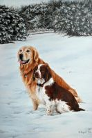 Two Dogs in the Snow by Kite88